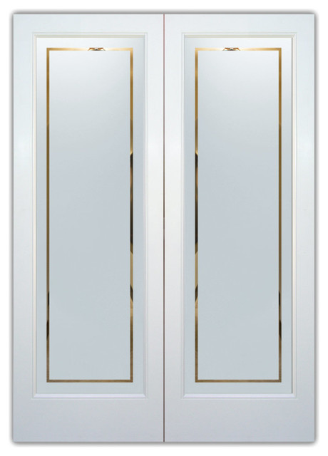 Interior Glass Doors - Frosted Semi Private PINSTRIPE BORDER - Modern ...