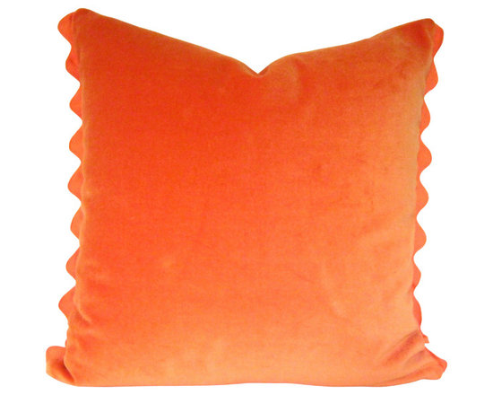 Therese Marie Designs - Orange Pillow - Orange Velvet Pillow with Ric Rac Trim - Orange pillow. Orange cotton velvet fabric is set off by a matching orange ric rac edge finish.  *For 16-inch square insert.