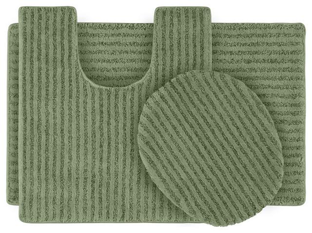 Xavier Stripe Deep Fern Bath Rug Set of 3 contemporary-bath-mats