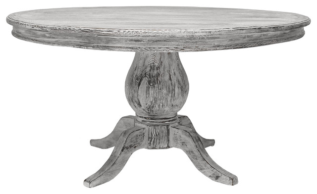 39 la france 39 pedestal dining table contemporary dining for Distressed round dining table