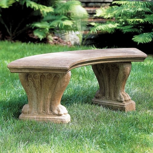 Campania International Curved Westchester Cast Stone Backless Garden Bench Be Traditional