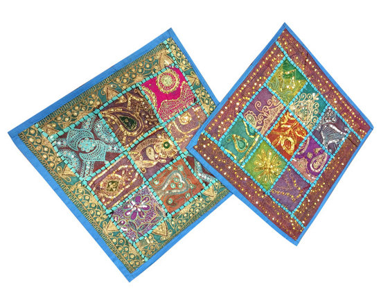 2 Blue Patchwork Pillow Shams India Decor Vintage Sari Cushion Cover - Match our vintage sari cushion covers with Sari curtains,Indian sari wall tapestries, and Indian bedspreads to create an Indian inspired home décor theme.
