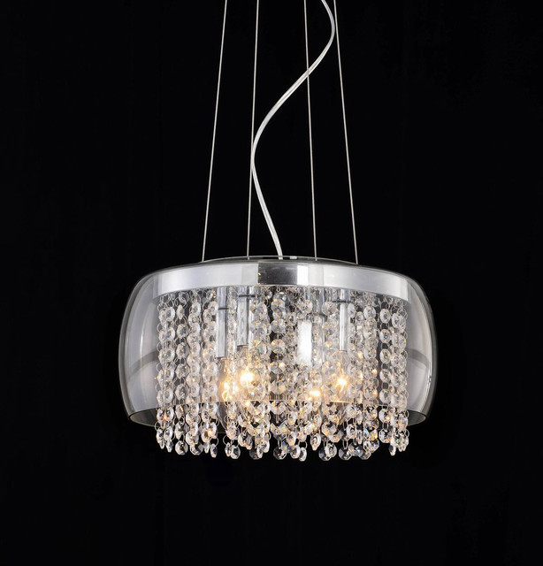 Chrome And Transparent Glass Crystal Chandelier