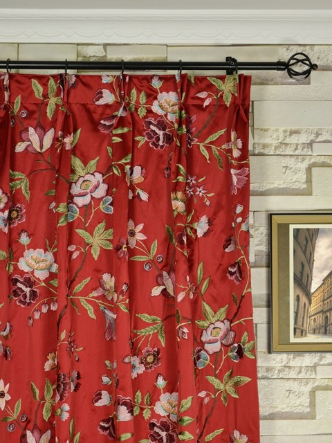 Red Embroidered Cheerful Floral Double Pinch Pleat Faux
