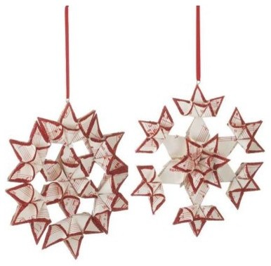 Midwest CBK Sleigh Ride Sheet Music Snowflake Ornament - Set of 4 modern-holiday-decorations