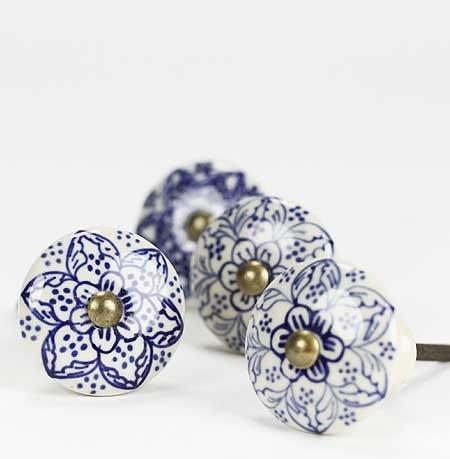 Ceramic Knob, Blue Flowers mediterranean-cabinet-and-drawer-knobs