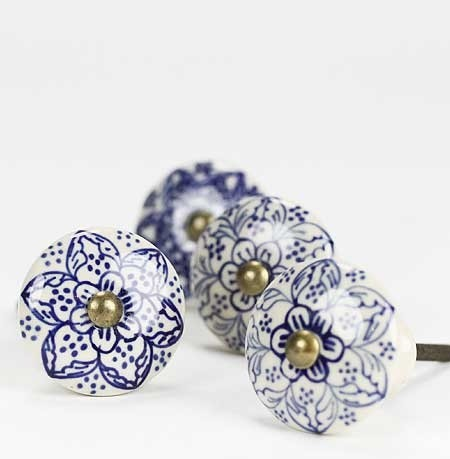 Ceramic Knob, Blue Flowers mediterranean-knobs