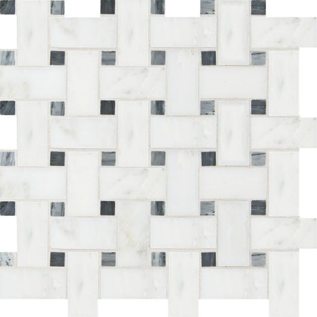 Artistic Tile Specialty Mosaics - Bianco Carrara/Bardiglio Basketweave mosaic-tile