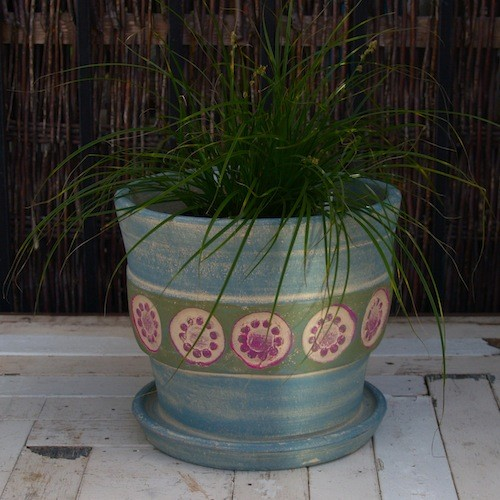 Floret Pot - Cornflower Blue in Terracotta Pots eclectic outdoor planters