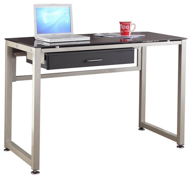 Homelegance network 44 inch metal computer desk with black glass top traditional desks and - Metal and glass desks ...