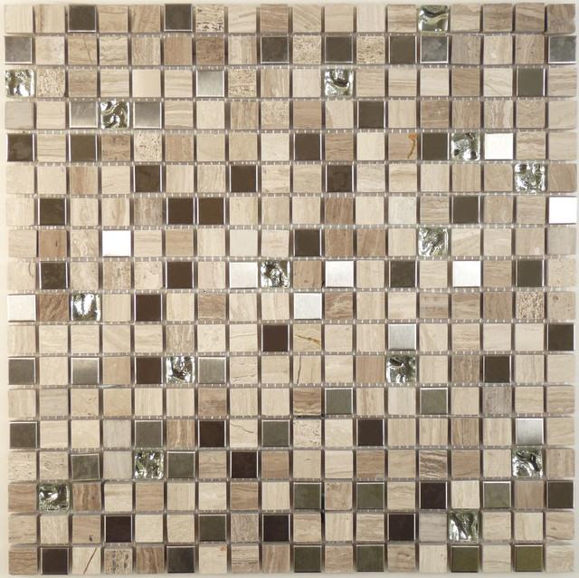 "White Sand 5/8"" x 5/8"" Cream/Beige Opulence Series Glossy Glass and Stone modern-tile"
