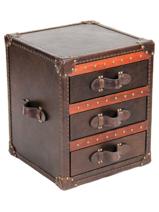 """Zentique - Zentique Leather Brown Chest - Inspired by antique steamer trunks, the Zentique chest creates intriguing interior style. Studded brown leather and luggage handles frame the furnishing's three drawers for sophisticated appeal. 18""""W x 18""""D x 22""""H; Glide drawers with linen interiors"""