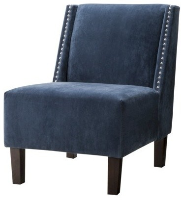 Hayden Armless Chair, Blue Velvet with Nailheads contemporary-chairs