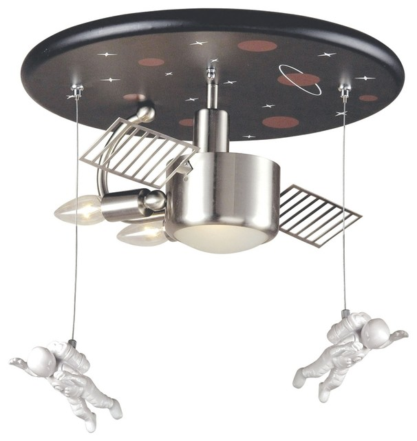 """Kids Space Station 16"""" Wide Ceiling Light Fixture"""