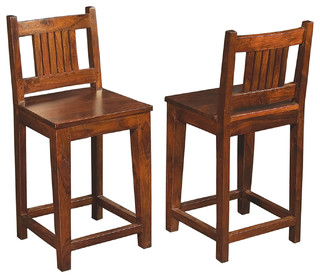 Solid Wood Counter Height Stool with Low Back - Craftsman - Bar Stools ...