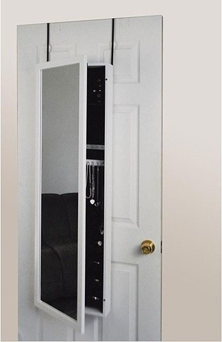 mirror jewelry armoire over the door in white modern jewelry armoires by wayfair. Black Bedroom Furniture Sets. Home Design Ideas