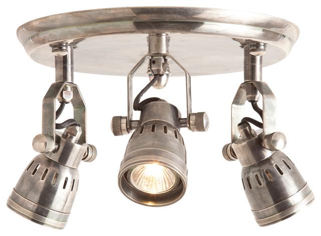 Trey Industrial Loft 3 Light Vintage Silver Flush Mount Ceiling Fixture industrial-ceiling-lighting