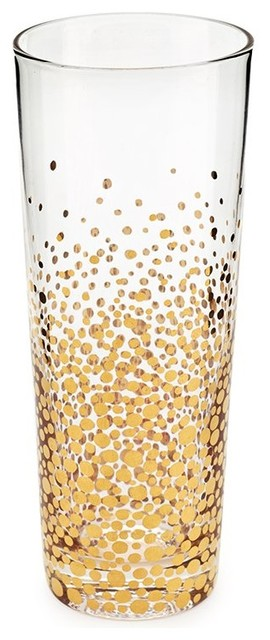 Bubbly Gold Champagne Flutes, Set of 4 contemporary-everyday-glassware