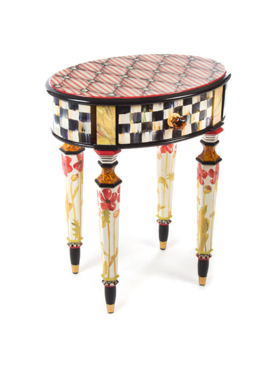 "Petite Poppy Table | MacKenzie-Childs - Neat and sweet. Center drawer front is embellished with a translucent amber glass knob, and two secret side compartments can be for fun or for keeping something precious. Hand decorated with a plethora of patterns: ""tufted"" ticking-stripe top, blooming red poppies, Courtly Checks® and Stripes, faux marble and tortoise, golden accents, and crimson-and-chartreuse stripes."