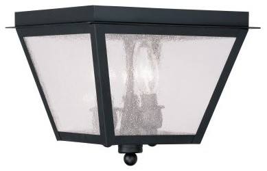 Livex Amwell 2549-04 3-Light Outdoor Ceiling Mount in Black modern-ceiling-lighting