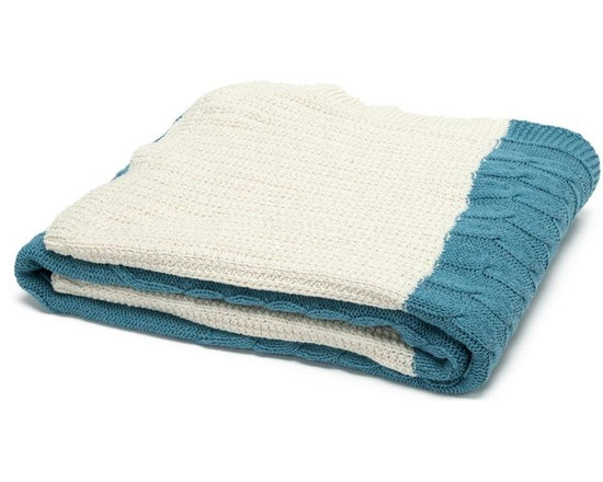 Eco Patchwork Cable Throw-Milk/Teal - Add rich texture and classic design to any room with this gorgeous throw blanket in Milk/Teal. With its amazing fashion-inspired cable knit design, this piece is perfect for cozying up with next to the fire all winter long.