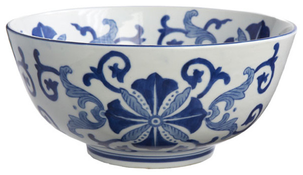 Blue and White Flourish Bowl traditional dinnerware
