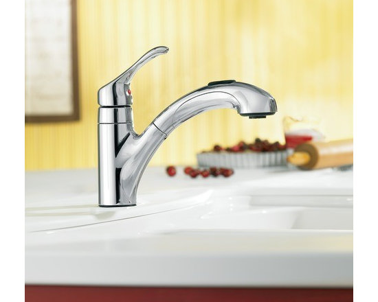 Moen Renzo Chrome one-handle low arc pullout kitchen faucet - The Renzo™ pullout faucet simplifies life in the kitchen with a touch of a button. Seamless design and attractive styling makes Renzo a perfect complement to any kitchen decor.