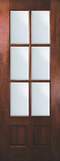 Slab entry french single door 96 mahogany 2 panel 6 lite for All glass french doors