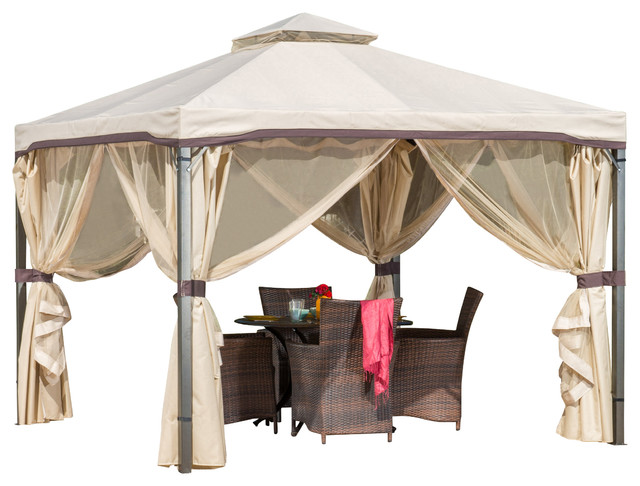 Backyard Canopy Gazebo : Sonoma Outdoor Gazebo Canopy w Net Drapery  Contemporary  Gazebos