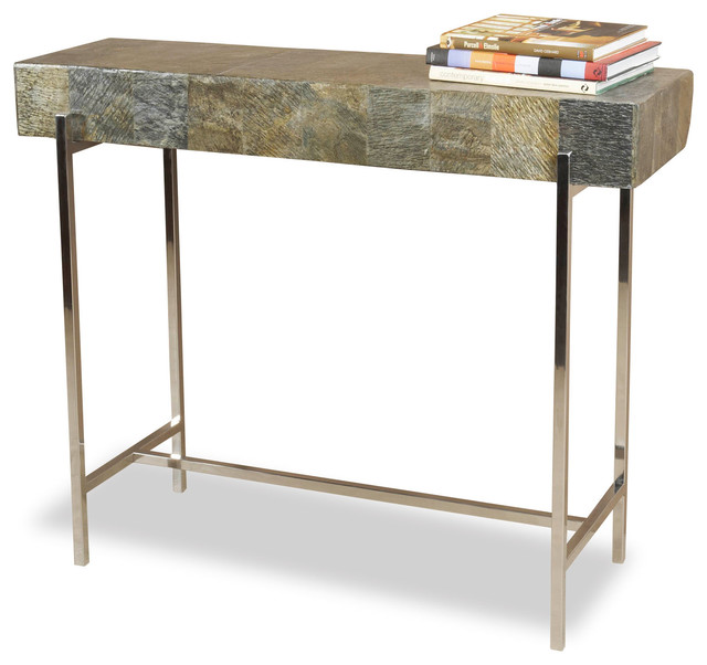 Alec Modern Rustic Chunky Stone Steel Console Table Side