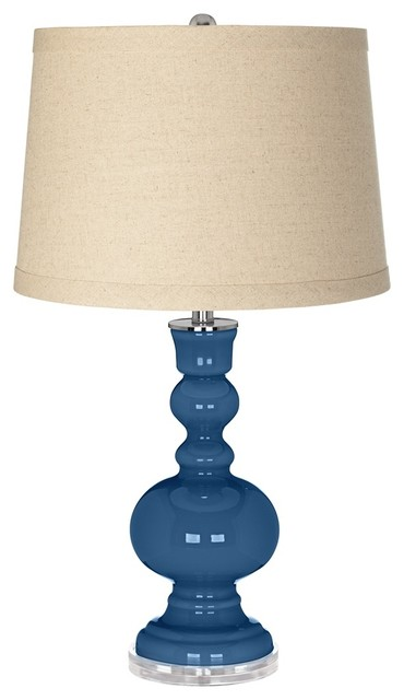 Regatta Blue Burlap Drum Shade Apothecary Table Lamp contemporary-table-lamps