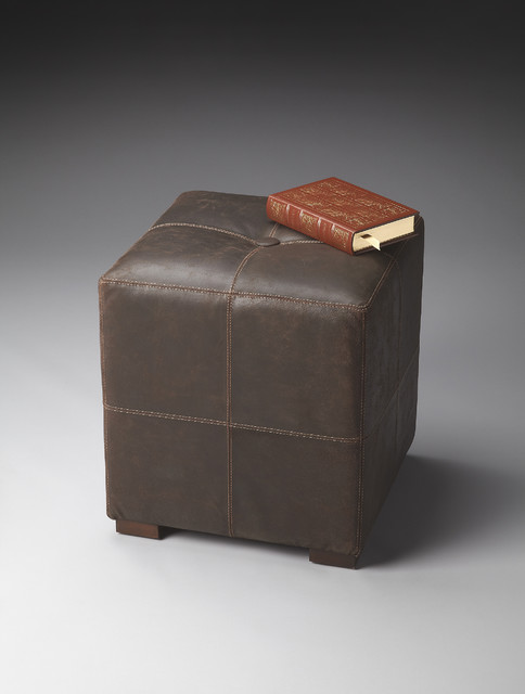 Leather Cube Ottoman Traditional Footstools And