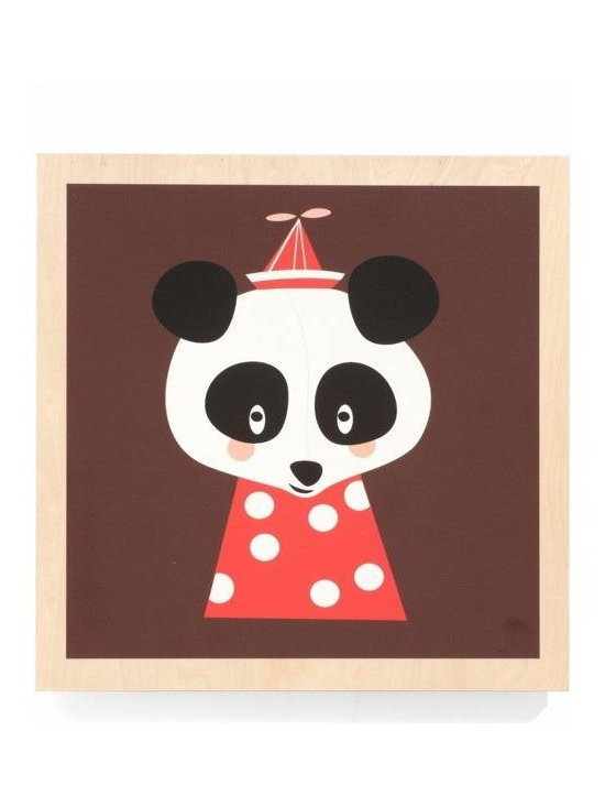 Ferm Living Posey Panda Picture - The Posey Panda by Ferm Living, is an adorable wooden framed picture that is easy to hang and will look super cute in your kids room.