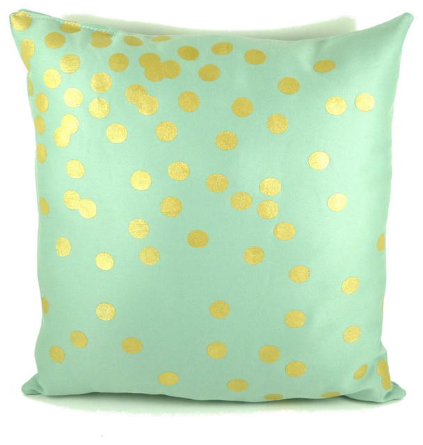 Mint And Gold Scattered Circles Pillow By Katie Scarlett