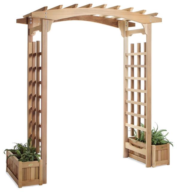 cedar garden pagoda arbor w planters traditional