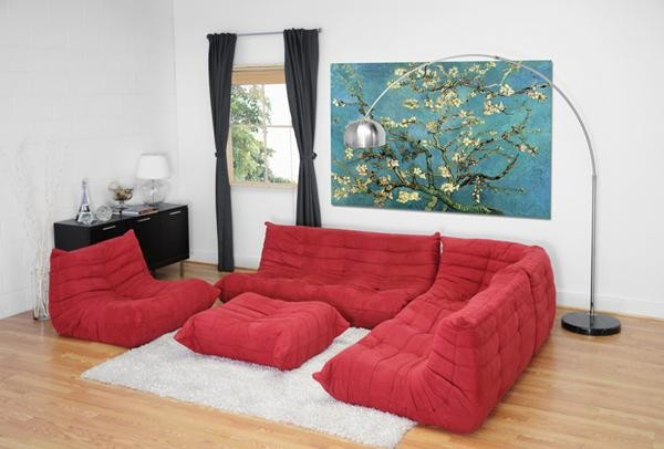 Baxton Studio K89 Red Modular Sectional contemporary-sectional-sofas