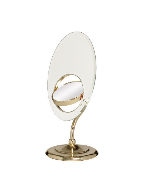 """Zadro - Swivel Mirror Inset - The Tri-Optics Vanity Mirror features two premium quality mirrors. The main mirror features a 1x magnification mirror that is great for checking your hair and make-up before you leave. The secondary inset mirror can be rotated 360 degrees, and features a 8x magnification mirror on one side, and a 3x magnification mirror on the other, which allows you to see up-close and in detail, allowing for easy make-up application. The Tri-Optics Vanity Mirror features a stylish S-Neck design that allows it to be positioned anyway you want, and is available in a gorgeous Brass finish. Features: -9"""" oval low silhouette. -1x magnification. -Triple vision dual sided 4"""" swivel mirror with 3x and 8x magnification. -Mirror adjusts 360 degrees to any viewing angle. -Stylish S-Neck Design. -Brass finish. -Patented. Specifications: -Mirror surface dimensions. -Main Mirror: 12"""" x 8"""". -Inset Mirror: 4"""" Diameter. -Overall Dimensions: 17"""" Height x 8"""" Width x 7.25"""" Depth."""