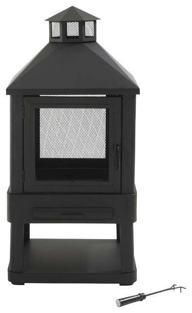 Outdoor Villa Fireplace (Black) transitional-firepits