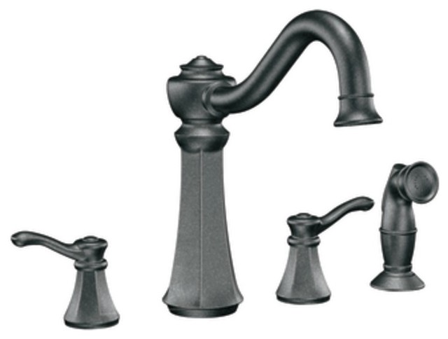 Moen 7068pw Vestige Two Handle Kitchen Faucet With Matching Sidespray In Pewter Traditional