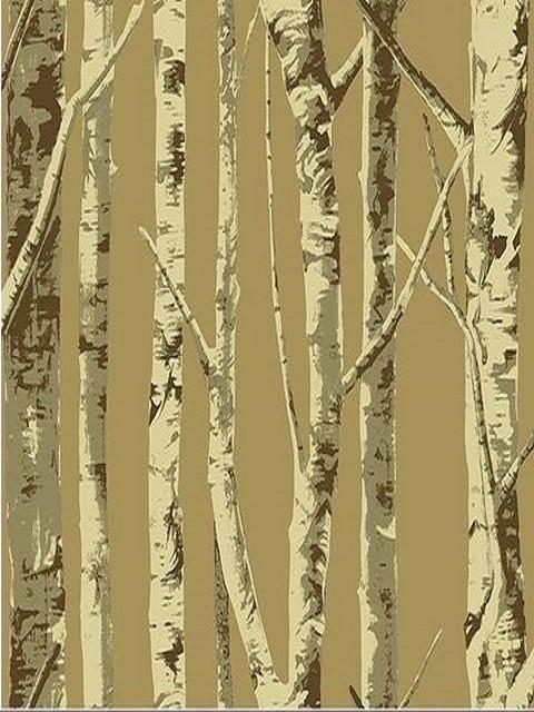 Tree Design Wallpaper Living Room: Brown Contemporary Birch Tree Wallpaper