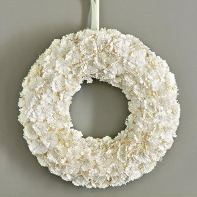 Paper Flower 18 Inch Wreath, White - Modern - Wreaths And ...