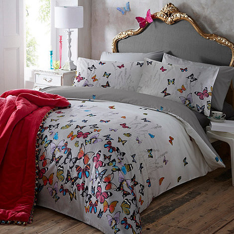 Light Gray 'Butterflies' Bedding Set contemporary-duvet-covers-and-duvet-sets