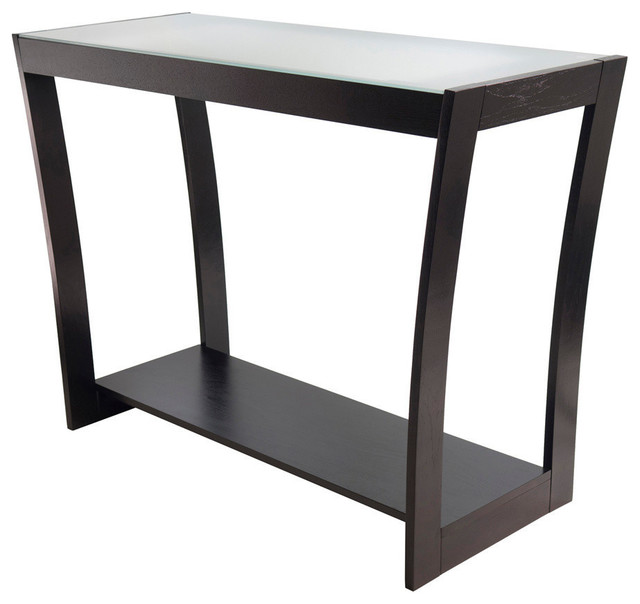 winsome wood radius console hall table w frosted glass