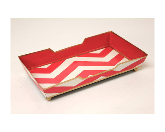 Chevron Pink Guest Towel Tray -