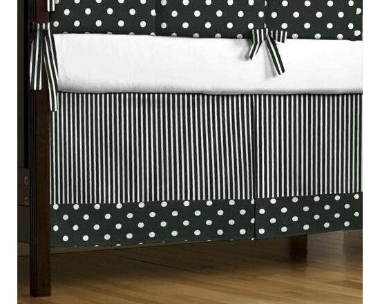 Black and White Dots and Stripes Crib Skirt -