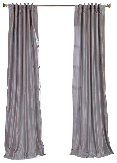 Silver Vintage Textured Faux Dupioni Silk Curtain traditional-curtains