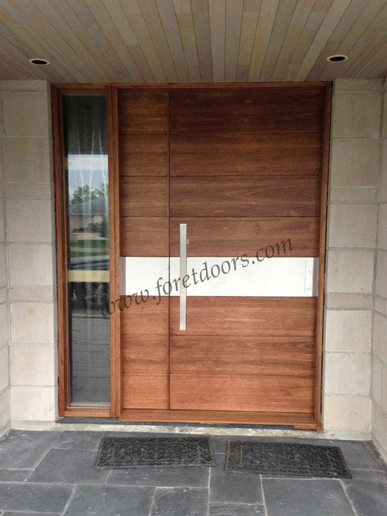 Modern front entry doors / contemporary front entry doors - Solid wood modern entry door with stainless steel stripe and flat stainless steel pull
