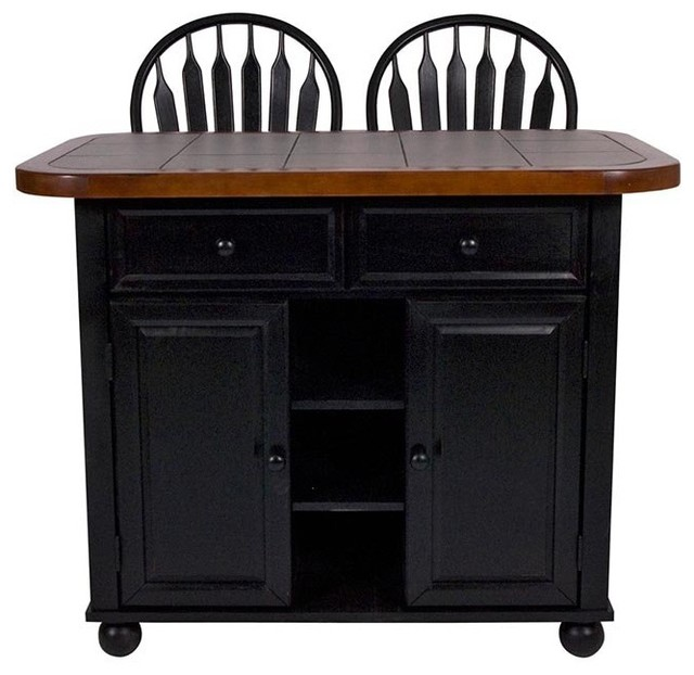 Sunset Trading 3 Piece Tile Top Kitchen Island Set With 2 Stools Black Cherry Contemporary