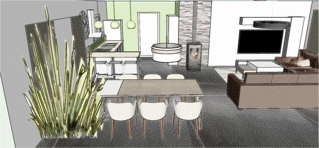 croquis 3d salon salle manger cuisine contemporary other metro by sonia home deco. Black Bedroom Furniture Sets. Home Design Ideas