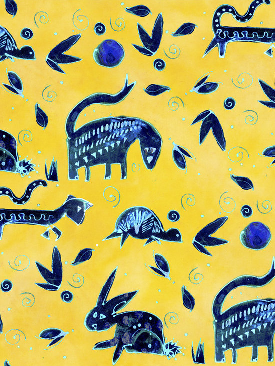 Midnight Beasties Solar Power Designer Fabric - Whimsical Midnight beasts,rabbits, turtles, leaves, dots and swirls on tone on tone to mix & match. Perfect for tabletop, bedding, pillows, children's and more.